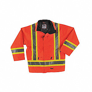Men's Hi-Visibility Orange 300D Trilobal Rip-Stop Polyester with Polyurethane backing Rain Jacket wi