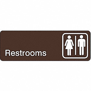 RESTROOM SIGN,3 X 9IN,WHT/BR,ACRYL,