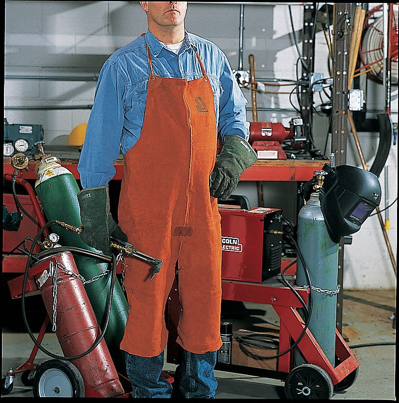 LeatherSplit Leg Welding Bib Apron, Length 42 in, Leather Straps Closure Type