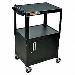Audio-Visual Cart w/Electric, 300 lb. Load Capacity, Steel Shelf Material