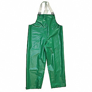 Flame Resistant Rain Bib Overall, PPE Category: 0, High Visibility: No, Polyester, PVC, 4XL, Green