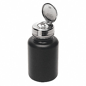 Wide Mouth Round Dispensing ESD Bottle, Dispensing, Plastic, 177.4mL, Black, 1 EA