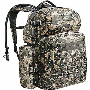 "Army Camo Hydration Pack, 100 oz./3L Capacity, Depth 14"", Length 21"", Width 20"""