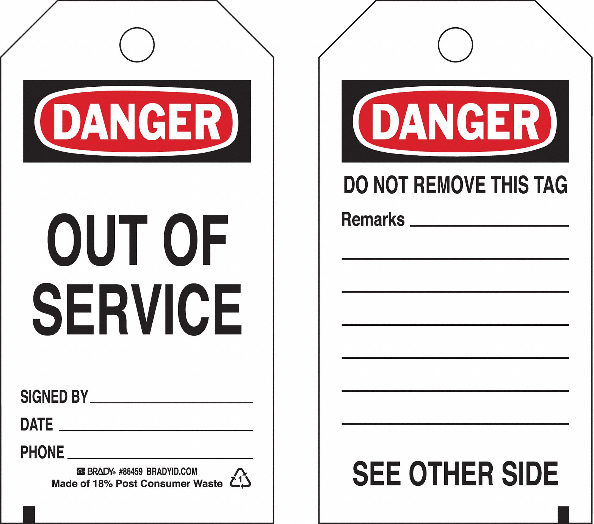 Brady danger tag 5 3 4 x 3 in out of svce pk10 8rju8 86459 grainger