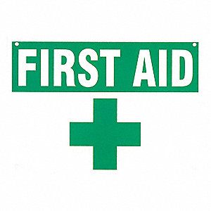 "First Aid, First Aid, Plastic, 7"" x 10"", With Mounting Holes, Not Retroreflective"