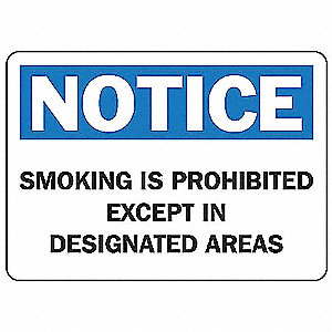 No Smoking Sign,7 x 10In,BL and BK/WHT