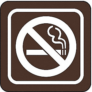 NO SMOKING SIGN,3 X 3IN,WHT/BR,ACRY