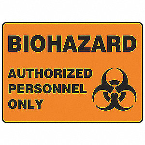 Biohazard Sign,10 x 14In,BK/ORN,PLSTC