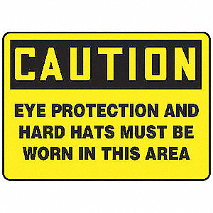Caution Sign,7 x 10In,BK/YEL,Self-ADH