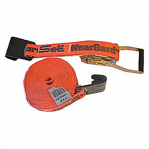 "Tie Down Strap, 27 ft.L x 2""W, 2000 lb. Load Limit, Adjustment: Ratchet"