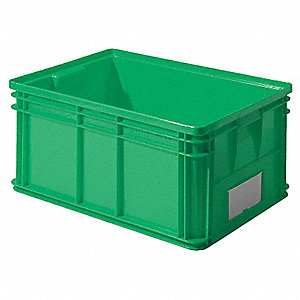 "Straight Wall Container, Green, 12""H x 26""L x 19""W, 1EA"