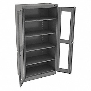 "Commercial Storage Cabinet, Medium Gray, 72"" H X 36"" W X 18"" D, Assembled"
