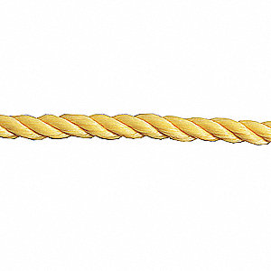 "Polypropylene Rope, 1/4"" Rope Dia., 1200 ft. Length, Yellow"