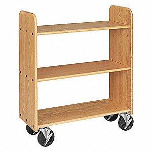 Wood Book Truck with 3 Flat Oak Shelves, Northwoods Oak