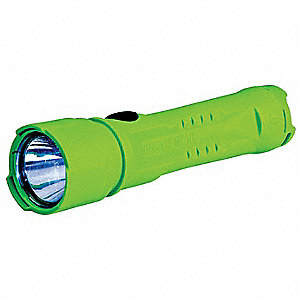 Industrial LED Handheld Flashlight, Plastic, Maximum Lumens Output: 90, Green