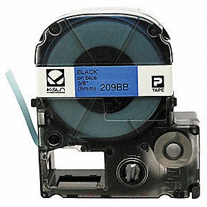 "Black on Blue Polyester Cartridge Label, Indoor/Outdoor Label Type, 26 ft. Length, 3/8"" Width"