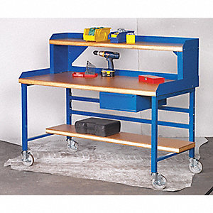 "Mobile Workbench, 60"" Width, 30"" Depth  Shop Top Work Surface Material"