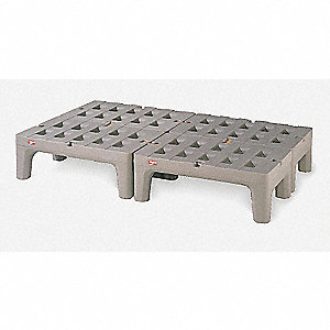 "30"" x 22"" x 12"" Polyethylene Dunnage Rack with 1500 lb. Load Capacity, Gray"