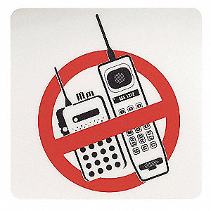 Policy Sign,No Cell Phones,8x8,Blk/Red