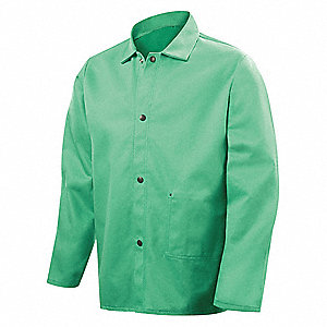 "Green 100% 12 oz. Flame-Resistant Cotton Welding Jacket, Size: M, 30"" Length"