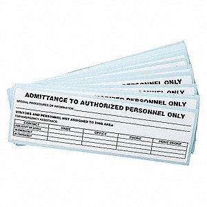 "Authorized Personnel and Restricted Access, No Header, Vinyl, 2-5/8"" x 9-1/4"", Adhesive Surface"