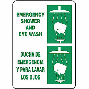 "Eyewash and Shower, No Header, Vinyl, 14"" x 10"", Adhesive Surface, Not Retroreflective"