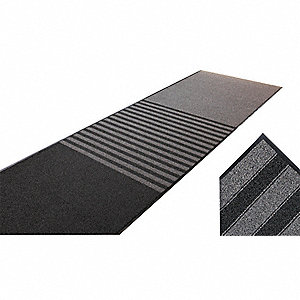 "Indoor Entrance Mat, 10 ft. L, 6 ft. W, 3/8"" Thick, Rectangle, Black"