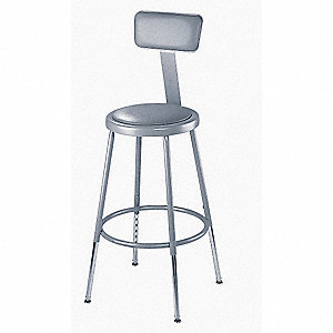 "Round Stool with 31"" to 39"" Seat Height Range and 300 lb. Weight Capacity, Gray"