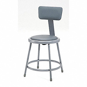 "Round Stool with 18"" Seat Height Range, Gray"