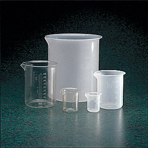 Plastic Low Form Beaker, Low Form, 100 to 1000mL, 4 PK