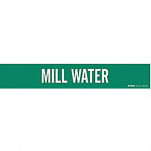 Pipe Marker, Mill Water, Gn, 8 In orGreater