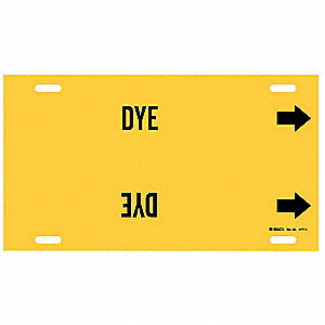 Pipe Marker, Dye, Yellow, 10 to 15 In