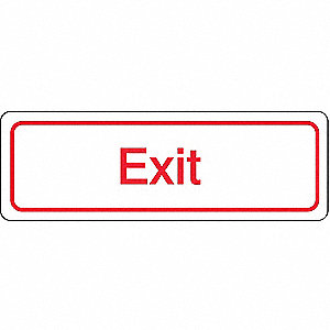 Exit Sign,3 x 9In,R/WHT,ACRYL,Exit,ENG