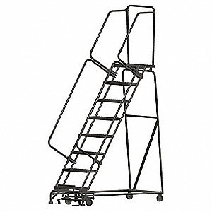 "8-Step Rolling Ladder, Perforated Step Tread, 113"" Overall Height, 450 lb. Load Capacity"