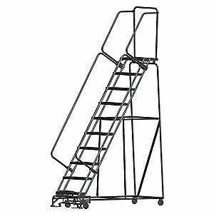 "10-Step Rolling Ladder, Expanded Metal Step Tread, 133"" Overall Height, 450 lb. Load Capacity"