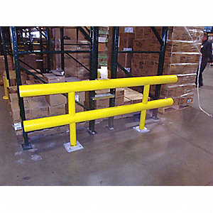 Safety Yellow Steel/High Density Polyethylene Guard Rail System Floor Mounted Mounting Style, 12 ft.