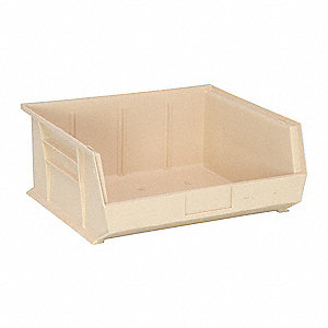 "Hang and Stack Bin, Ivory, 14-3/4"" Outside Length, 16-1/2"" Outside Width, 7"" Outside Height"