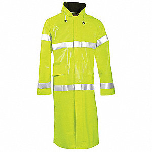 Arc Flash Rain Coat W/Hd,M,HiVis Lm Ylw