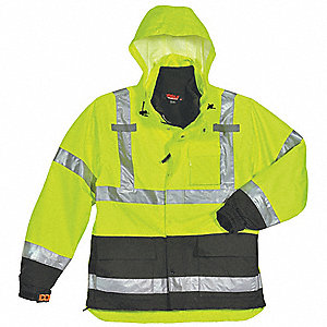 Men's Hi-Visibility Yellow/Green Polyurethane 3-In-1 Rain Jacket with Hood, Size 3XL, Fits Chest Siz