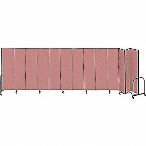 24 ft. 1 in. x 7 ft. 4 in., 13-Panel Portable Room Divider, Mauve