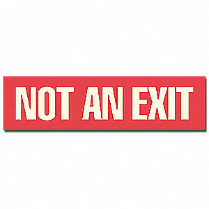 Exit Sign,6 x 1-1/2In,WHT/R,Not An Exit
