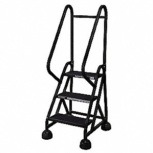"3-Step Rolling Ladder, Rubber Mat Step Tread, 57"" Overall Height, 450 lb. Load Capacity"
