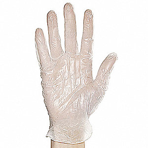 "10"" Powder Free Unlined Smooth Vinyl Disposable Gloves, White, Size S, 100PK"