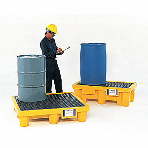 Spill Containment Pallets, Uncovered, 66 gal. Spill Capacity, 6000 lb.