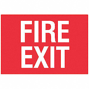 Fire Exit Sign,7 x 10In,WHT/R,PLSTC,ENG