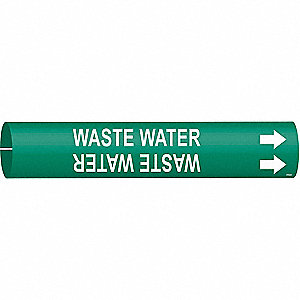 Pipe Marker,Waste Water,1-1/2to2-3/8 In