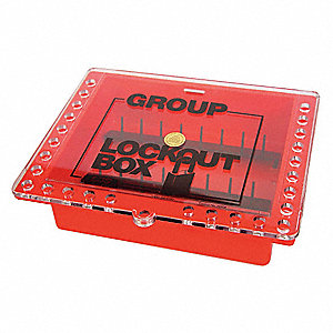 "Red Plastic Group Lockout Box, Max. Number of Padlocks: 27, 10-1/2"" x 12-3/4"""