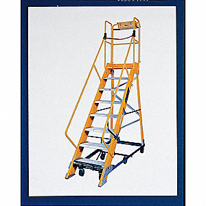 "10-Step Rolling Ladder, Rubber Mat Step Tread, 137"" Overall Height, 300 lb. Load Capacity"