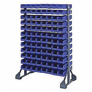 "2-Sided Bin Rail Floor Rack with 192 Bins, 53""H x 36""W x 20""D, Gray"