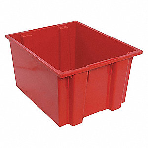 "Stack and Nest Container, Red, 13""H x 23-1/2""L x 19-1/2""W, 1EA"